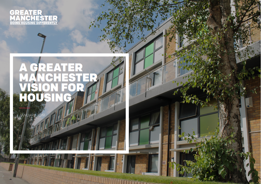 Front cover of the Greater Manchester Housing Vision, which shows a two-storey row of modern flats on a sunny dayflats