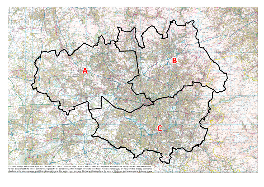 Map of Greater Manchester with sub areas A.B and C
