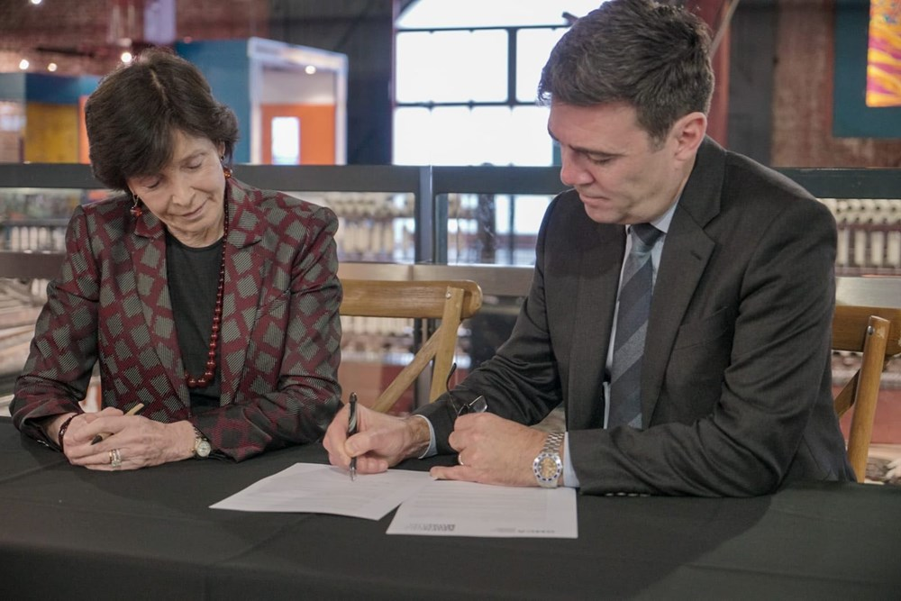 The Mayor of Greater Manchester, Andy Burnham and the Chair of the Science Museum Group, Dame Mary Archer