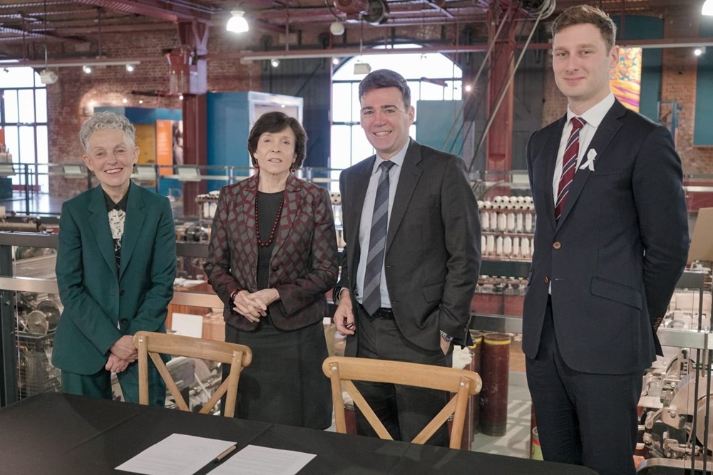 The Mayor of Greater Manchester, Andy Burnham and the Chair of the Science Museum Group, Dame Mary Archer, with Sean Fielding and Science and Industry Museum Director Sally Macdonald
